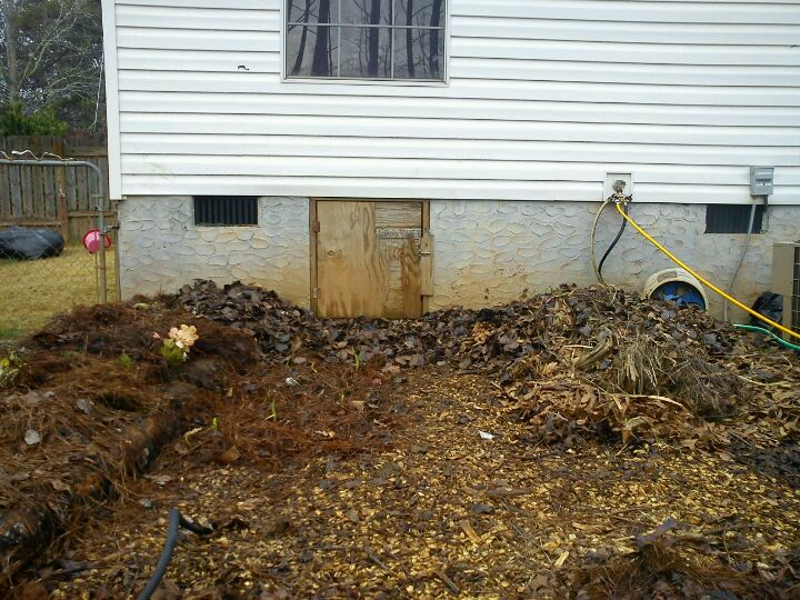 Same bed as above, but with fresh leaves piled high for mulch.